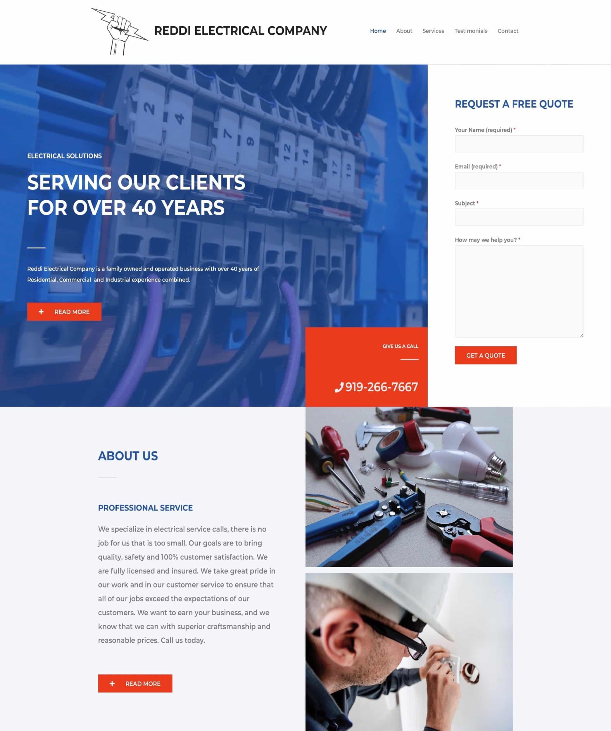 Linked Visuals Web Design of Reddi Electrical Company